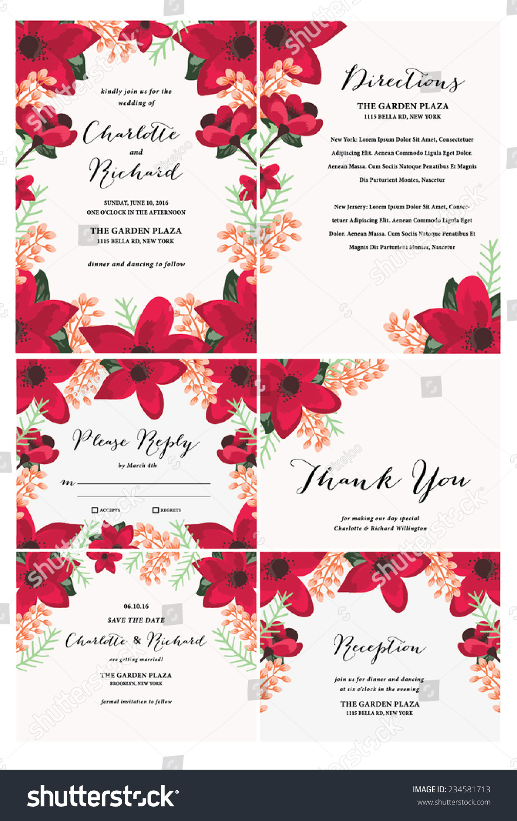 Floral Wedding Invitation Collection Template Stock Vector 234581713 ...