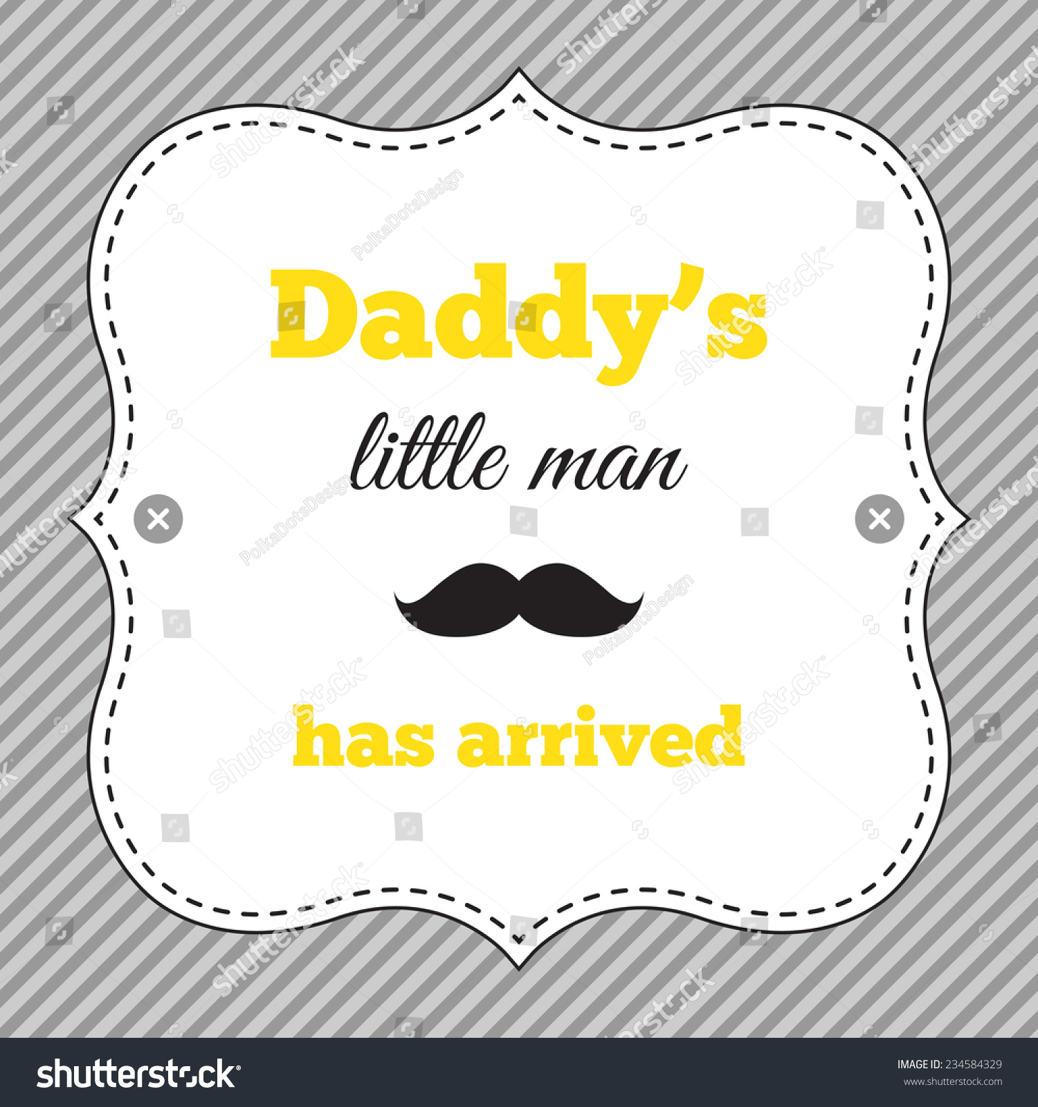 Baby Shower Invitation Mustache Party Yellow Stock Vector 234584329 ...