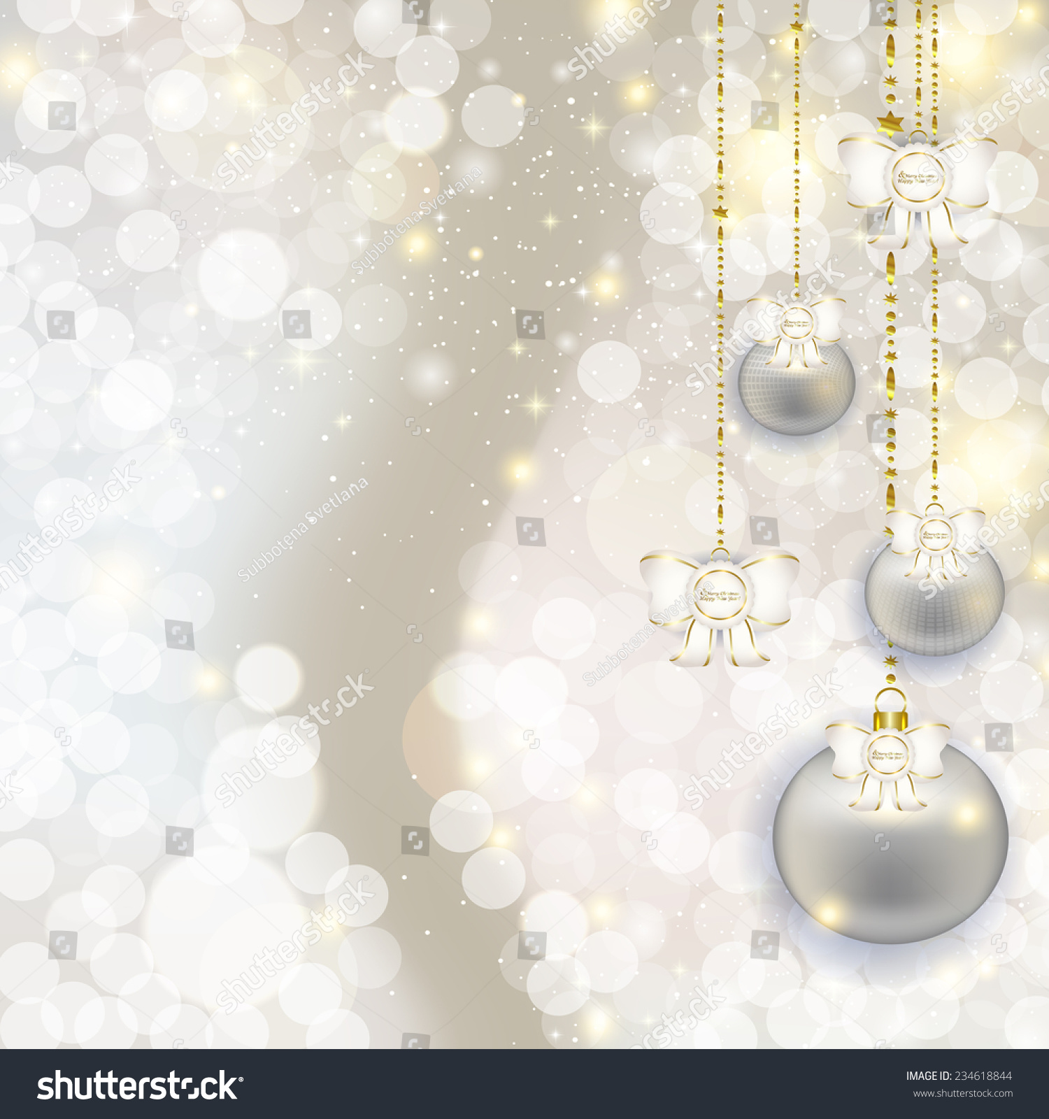 christmas hanging balls on abstract pearl background with highlights and shinevector illustration of holiday - The Christmas Pearl