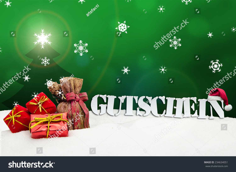 Christmas voucher gutschein card gifts snow stock photo for Smow gutschein