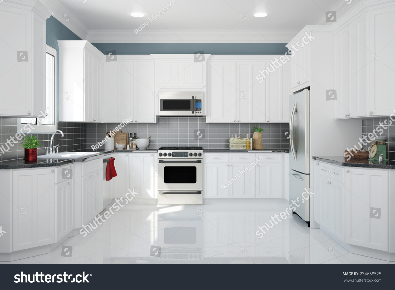 Traditional White Kitchen Design 3d Rendering: Interior New White Kitchen Kitchenware Clean Stock