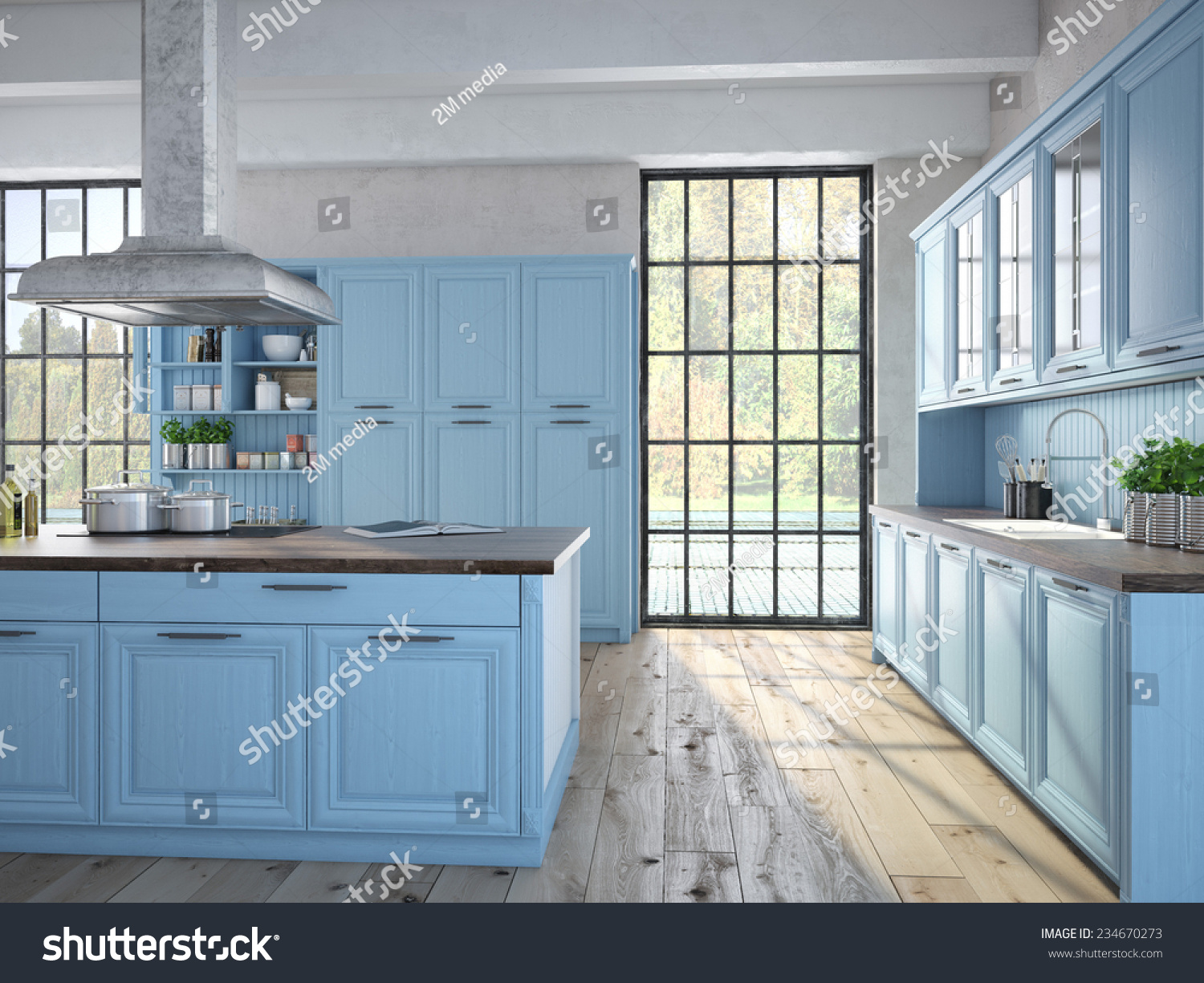 3 D Rendering Luxurious Kitchen Stainless Steel Stock Illustration ...