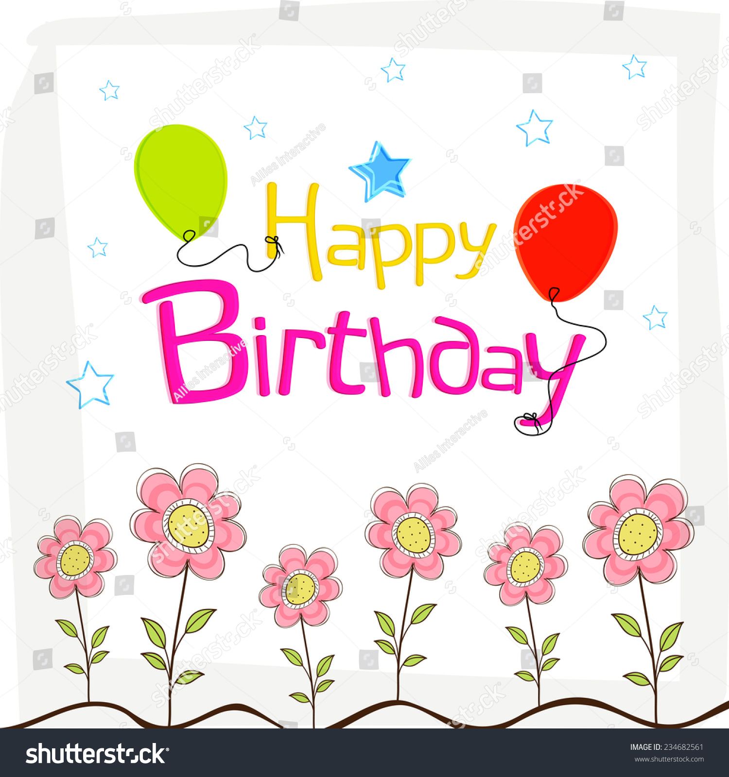 Stylish poster banner flyer happy birthday stock vector 234682561 stylish poster banner or flyer of happy birthday with decoration of flowers and balloon dhlflorist Choice Image