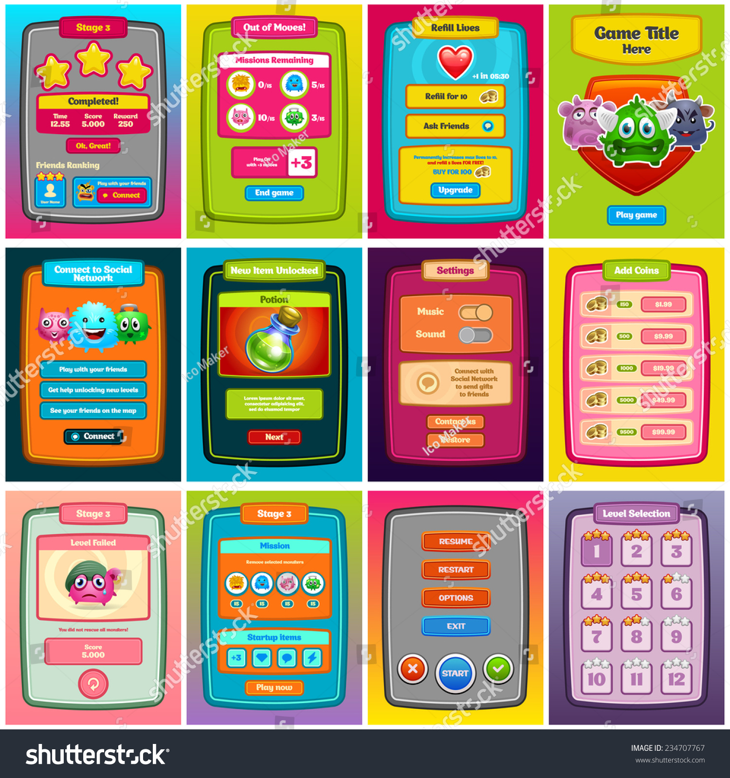 Interface Game Design Game Ui Web Stock Vector 234707767 ...