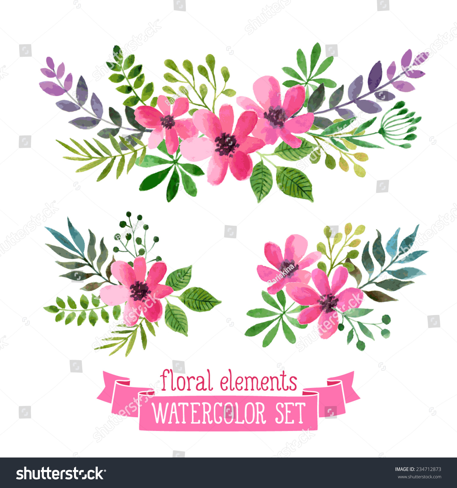 Flowers Vector Design Wedding Invitations Wedding: Vector Flowers Set. Colorful Floral Collection With Leaves