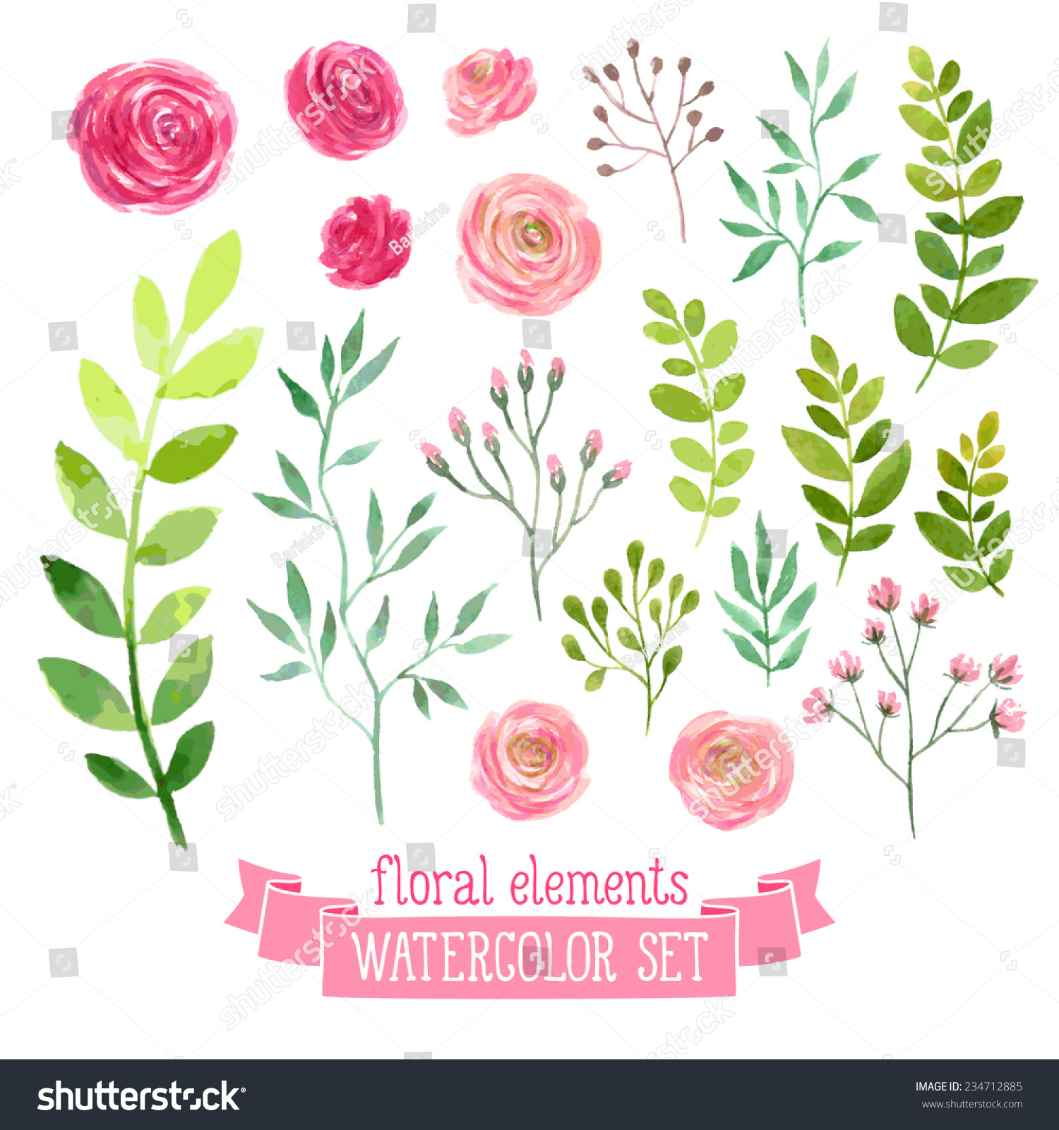 Vector floral set colorful floral collection stock vector - Leaves paintings and drawings ...