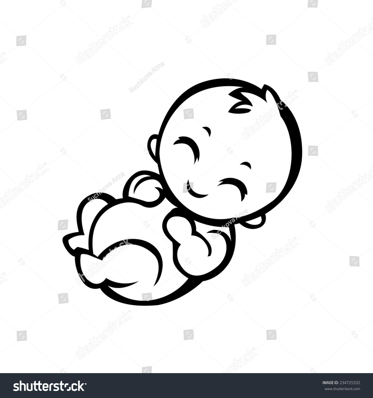 Newborn Little Baby Smiling Small Arms Stock Vektor ...