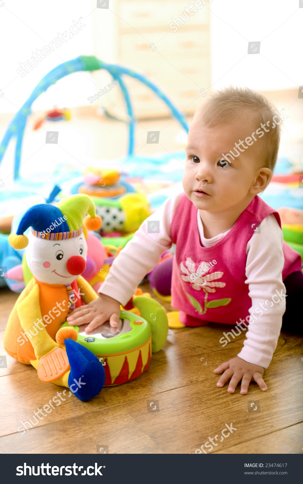 Toys For 9 Month Girl : Baby girl months playing with soft toys at home