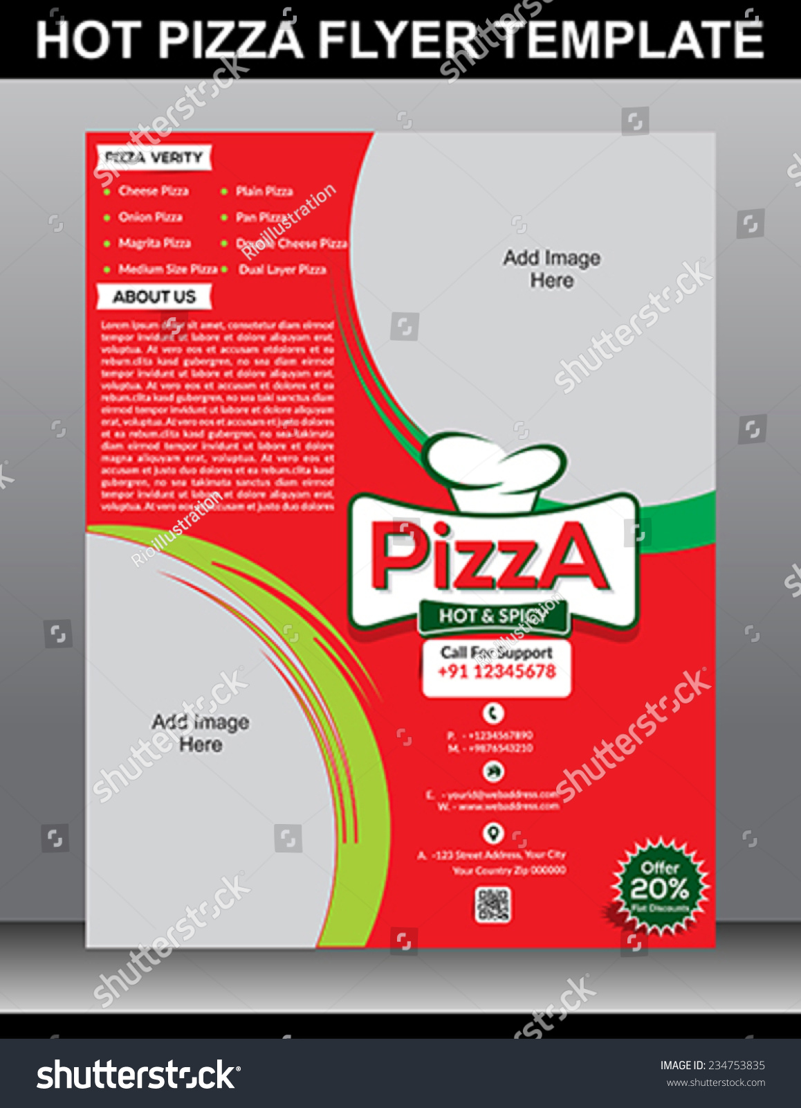 hot pizza flyer template vector illustration stock vector 234753835 shutterstock. Black Bedroom Furniture Sets. Home Design Ideas