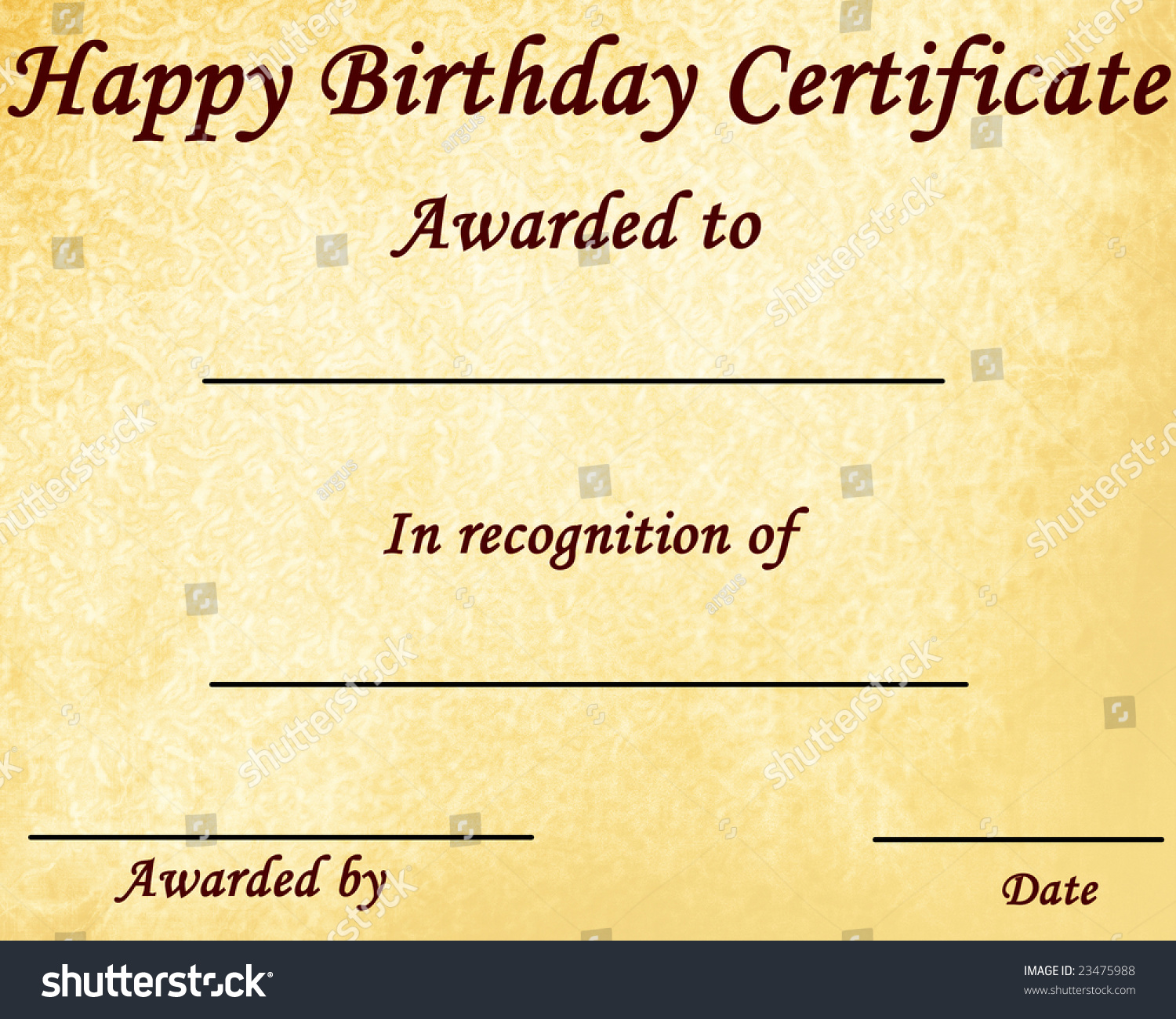 Happy Birthday Certificate Some Stains On Stock Illustration