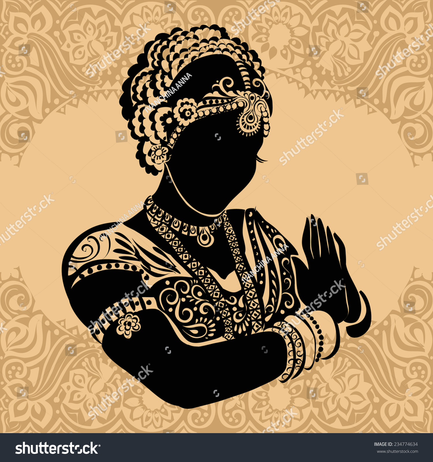 Indian Woman Silhouette Woman Stock Vector Royalty Free 234774634