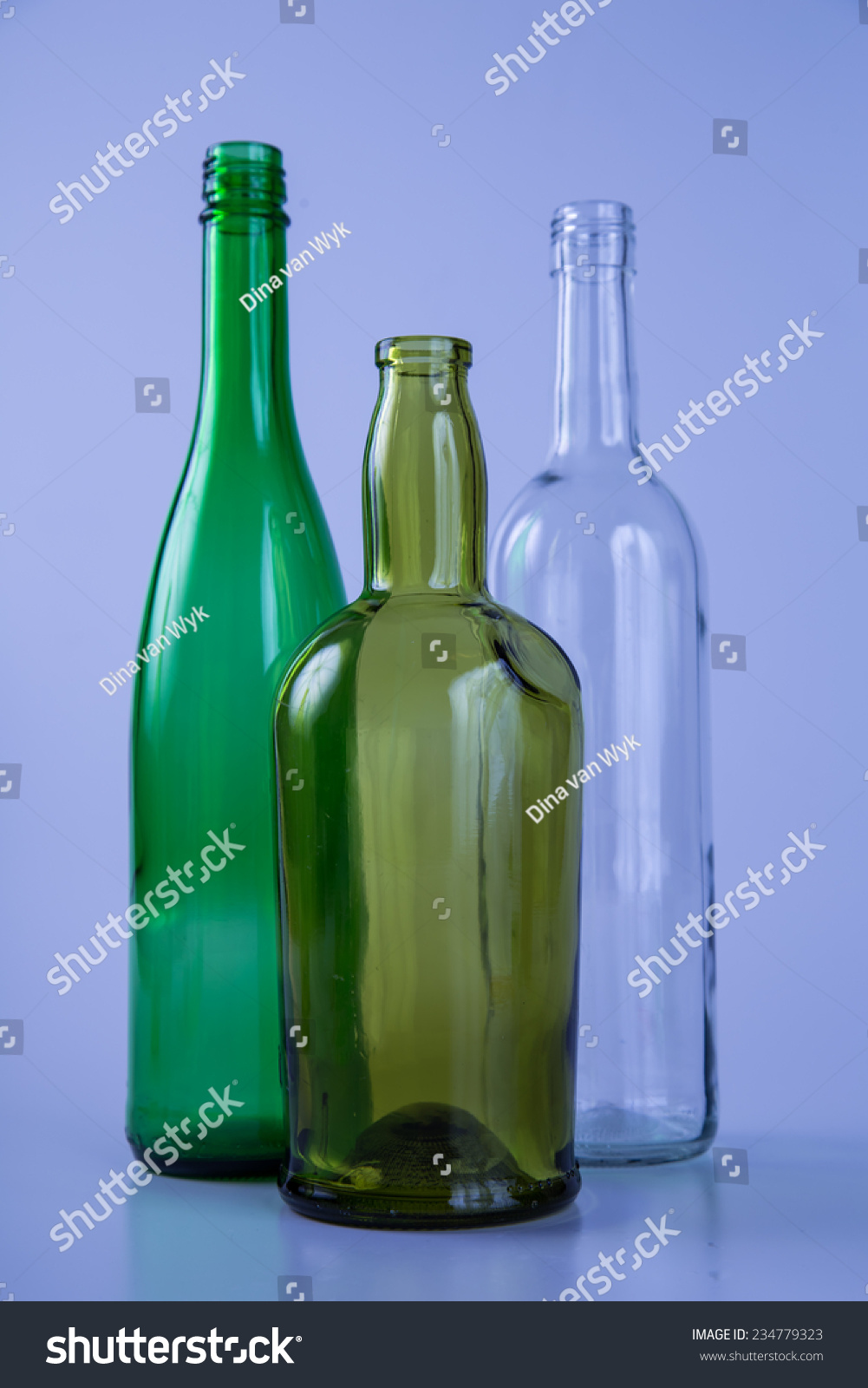 Tree Colored Glass Bottles Colored Back Stock Photo (Royalty Free ...