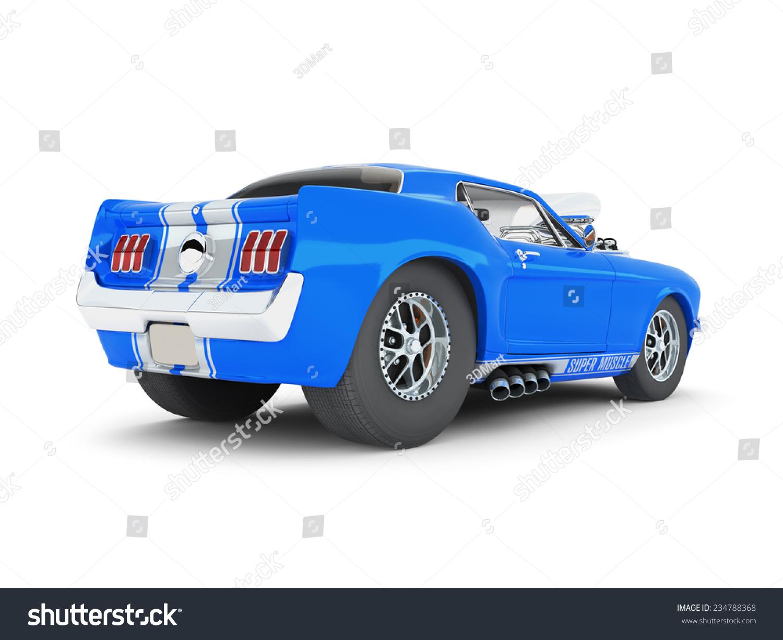 Blue Cartoon Muscle Car On White Stock Illustration 234788368 ...
