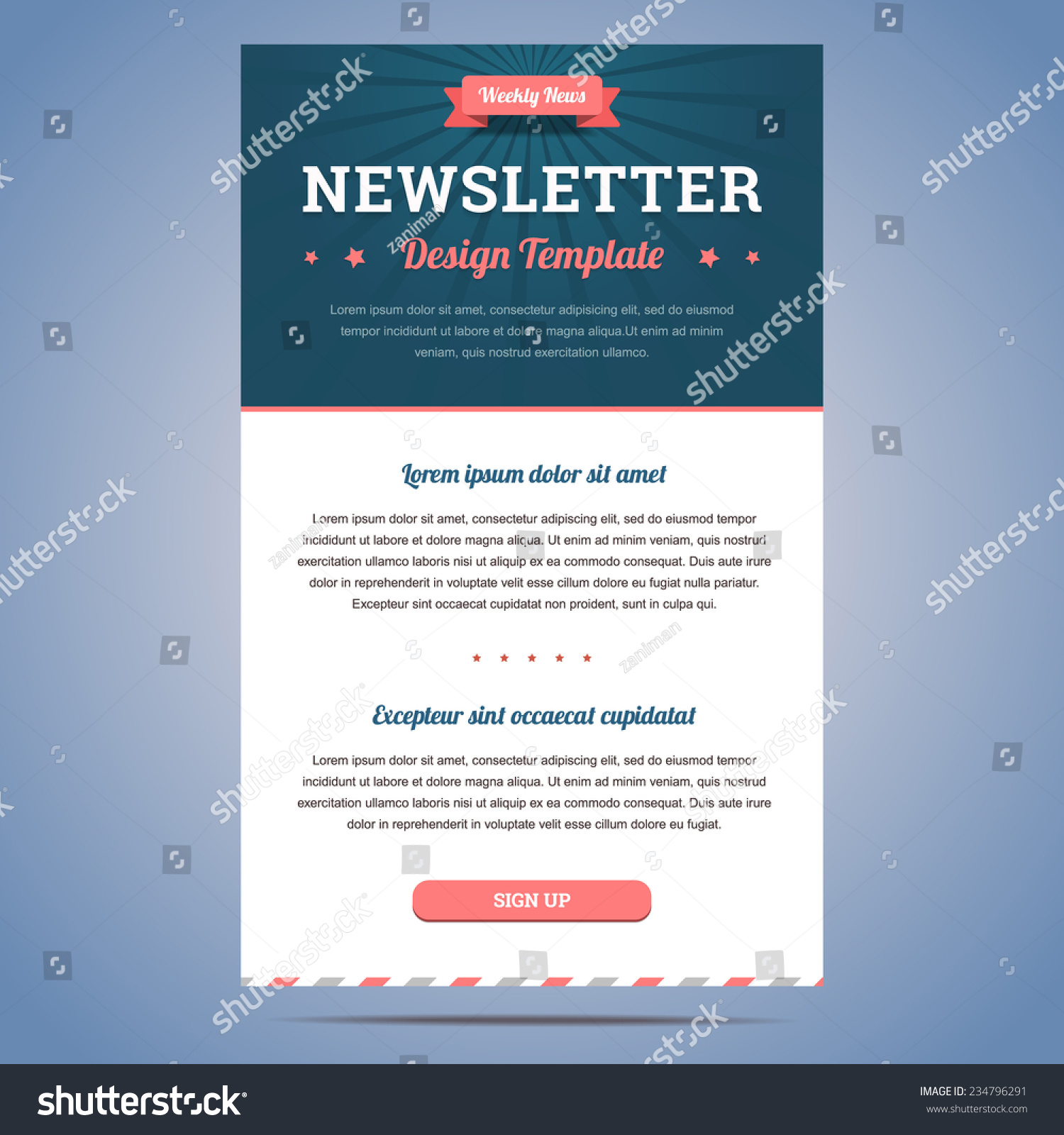 royalty free newsletter design template for weekly 234796291 stock