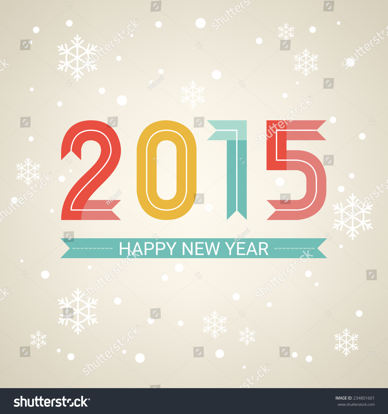 Happy new year 2015 holiday greeting stock vector 234801601 happy new year 2015 holiday greeting card with numbers from ribbons on snowflake background m4hsunfo