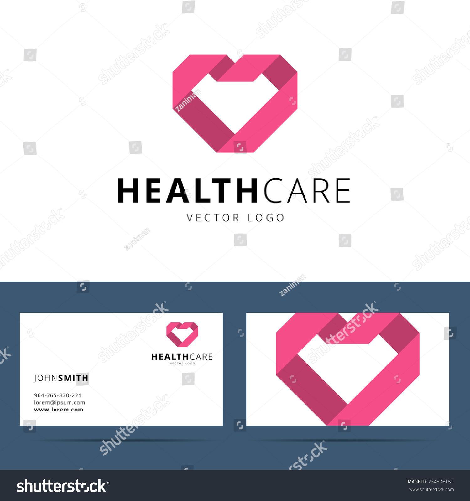 health care vector logo business card stock vector
