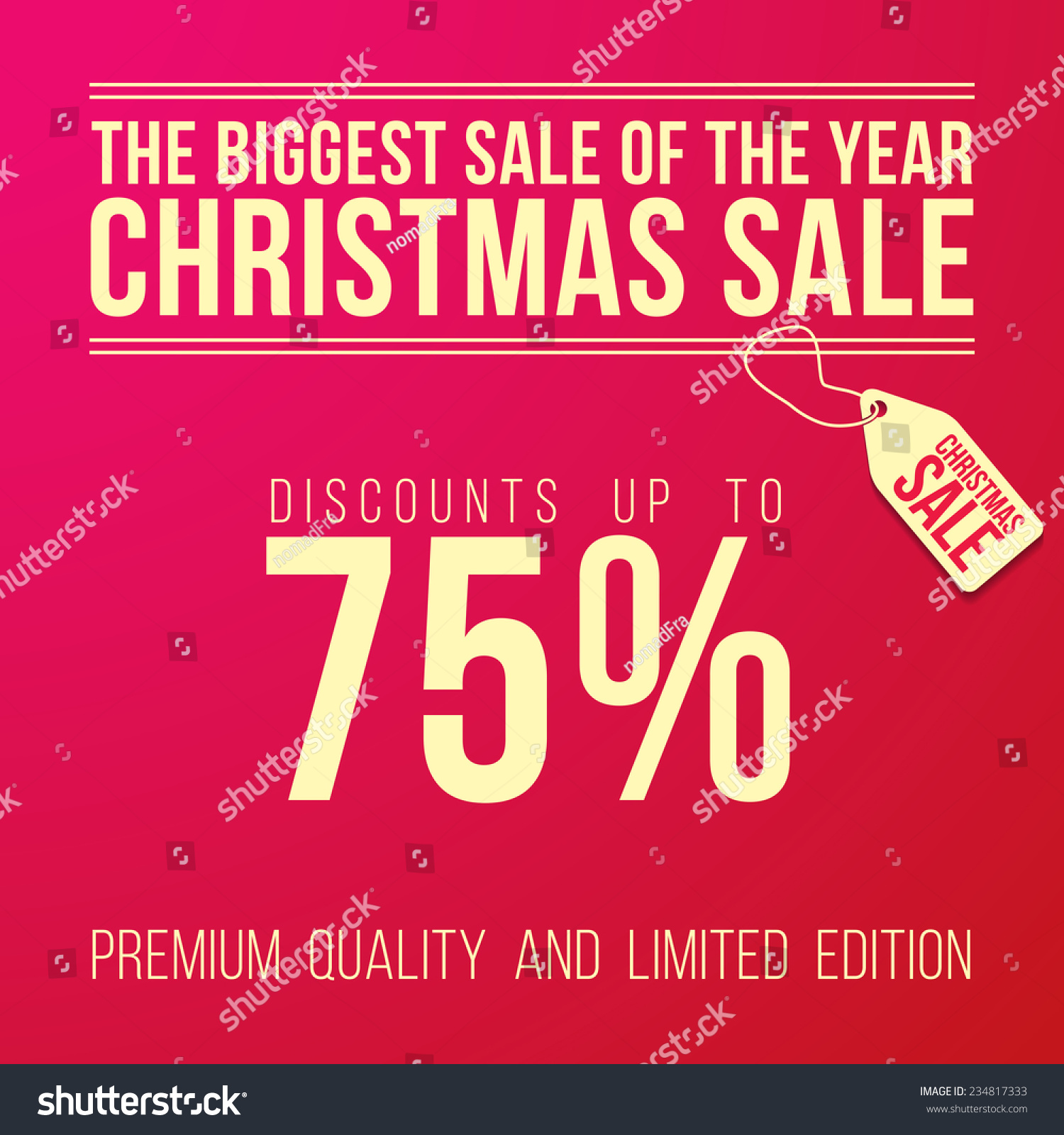 Christmas Sale Ad With Big Discount Designed In A Modern Flat Style On Red Background