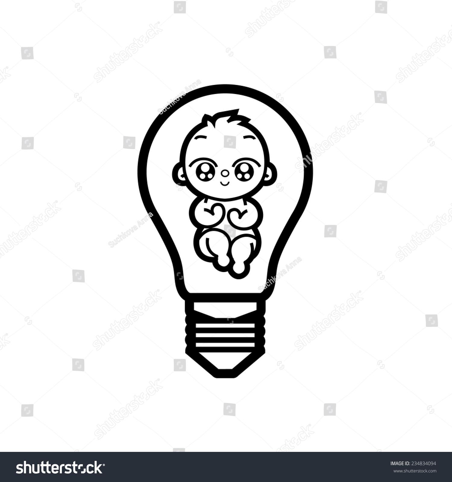 Idea Having Baby Lamp Symbol Motherhood Stock Vector Royalty Free