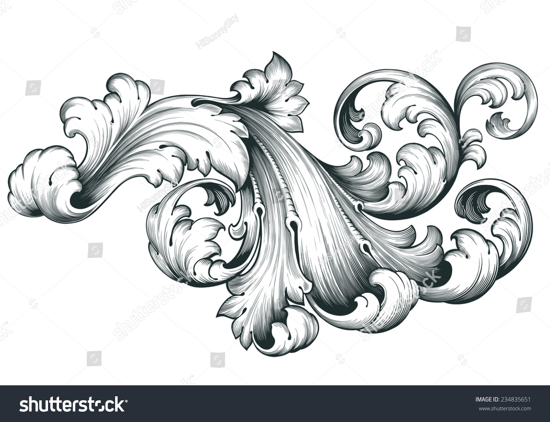 vintage baroque engraving floral scroll filigree stock illustration 234835651