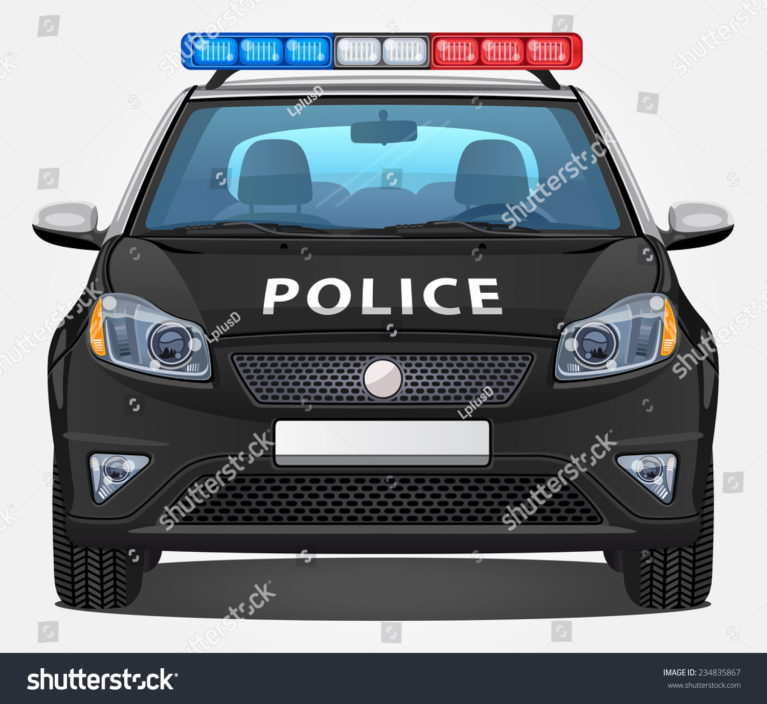 vector police car 1 front view stock vector 234835867 shutterstock. Black Bedroom Furniture Sets. Home Design Ideas