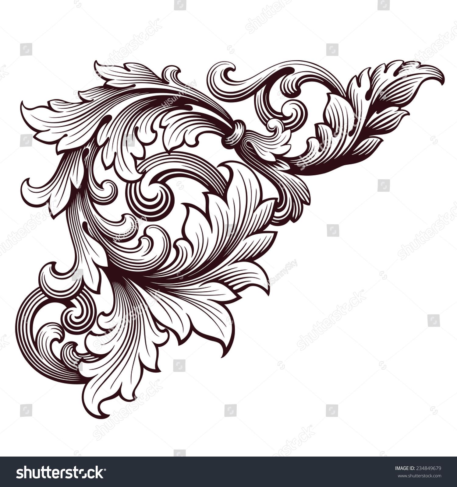 vintage baroque scroll design frame corner pattern element engraving retro style ornament