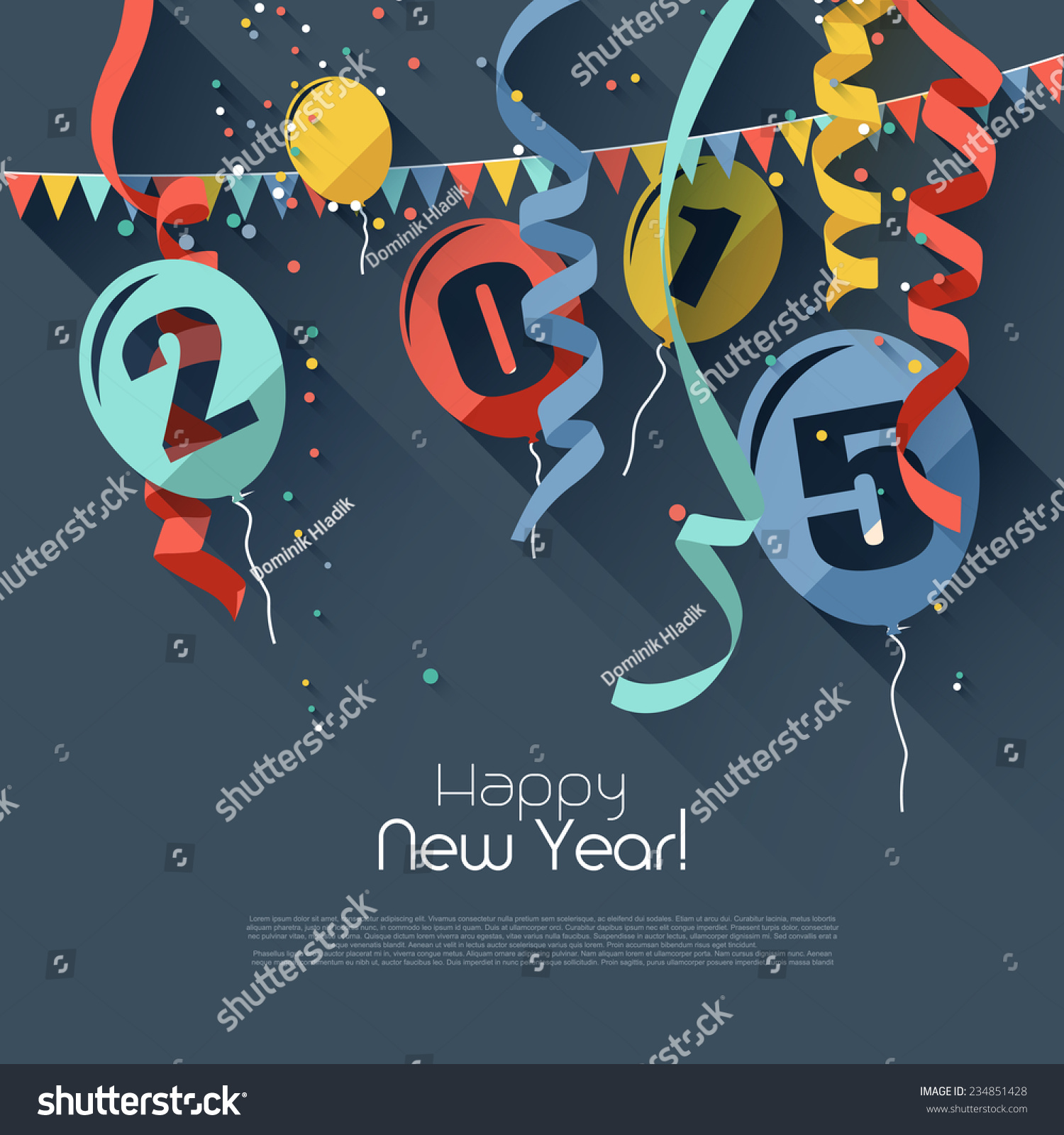 Happy new year 2015 modern greeting stock vector royalty free happy new year 2015 modern greeting card in flat design style m4hsunfo