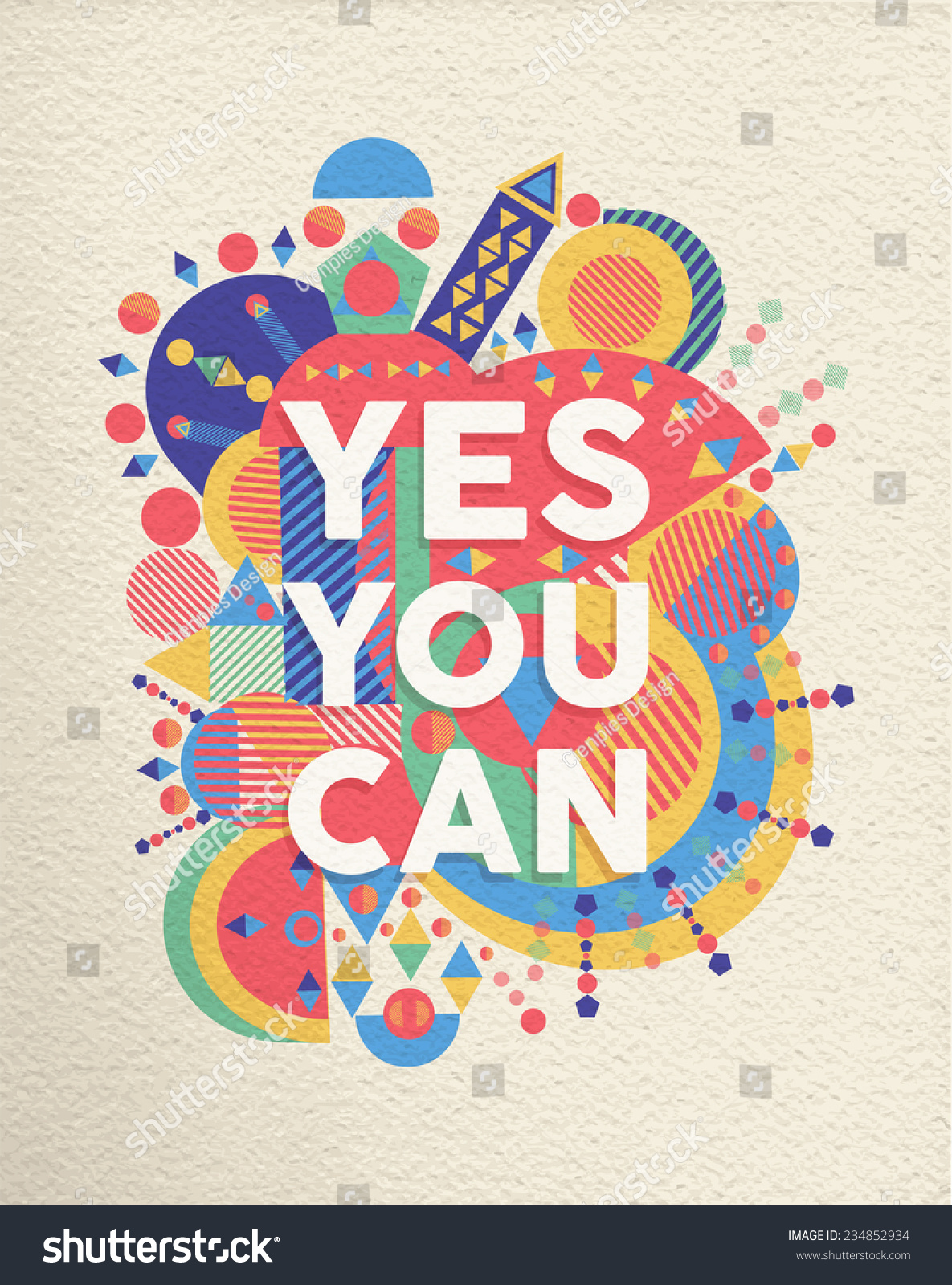 Poster design quotation - Yes You Can Colorful Typographical Poster Inspirational Motivation Quote Design Background Eps10 Vector File