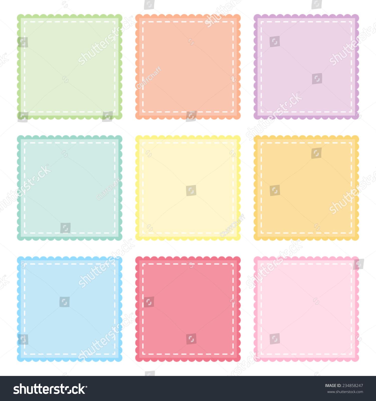 Scalloped Edge Stitched Square Badge Vector Stock-Vektorgrafik ...