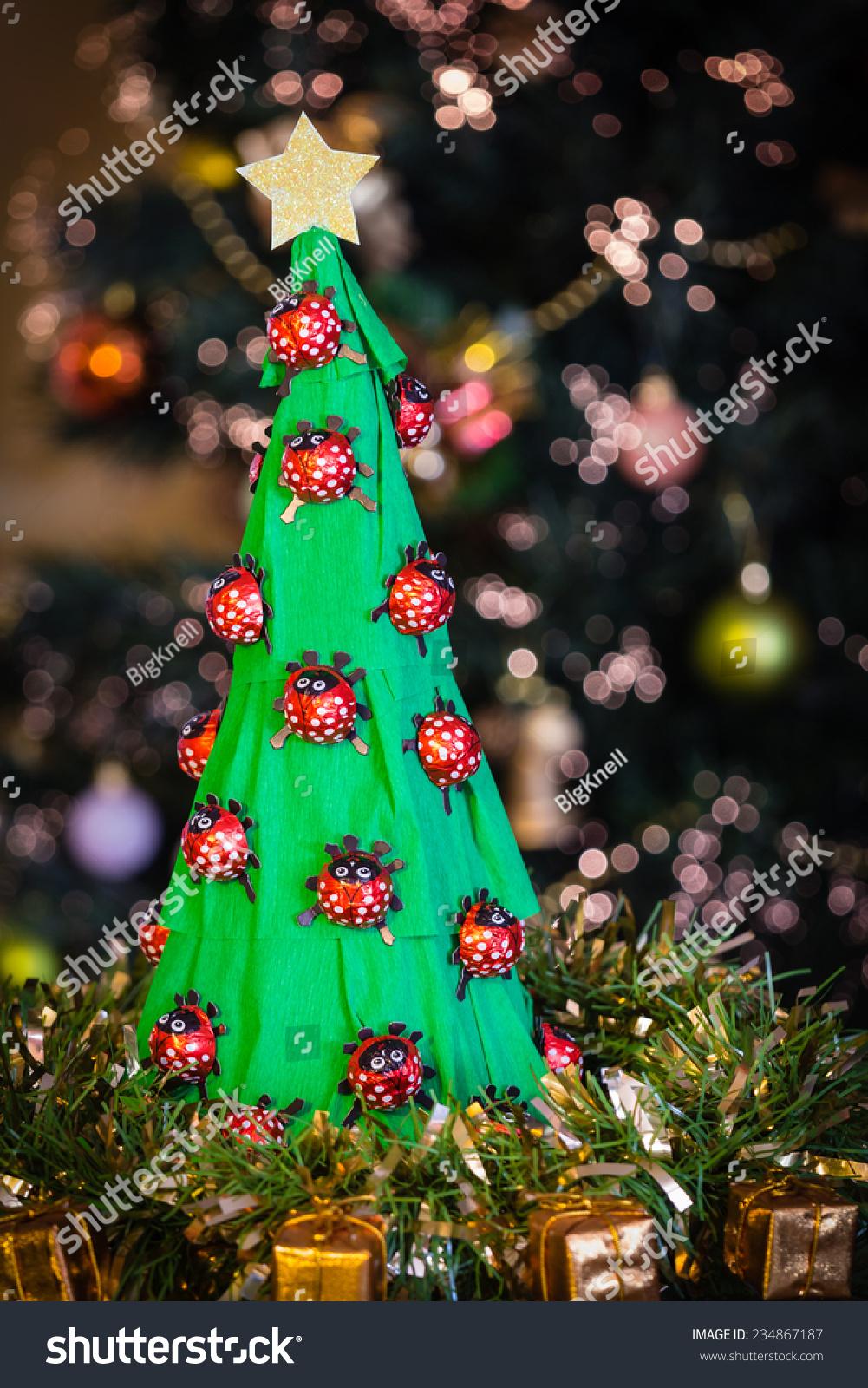 Handmade Paper Christmas Tree Chocolate Ladybirds Stock Photo ...
