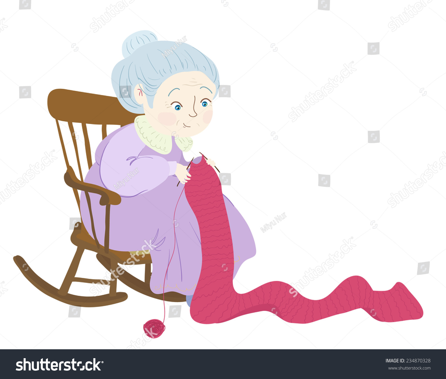Knitting Granny Clipart : Grandma knitting her rockingchair stock vector