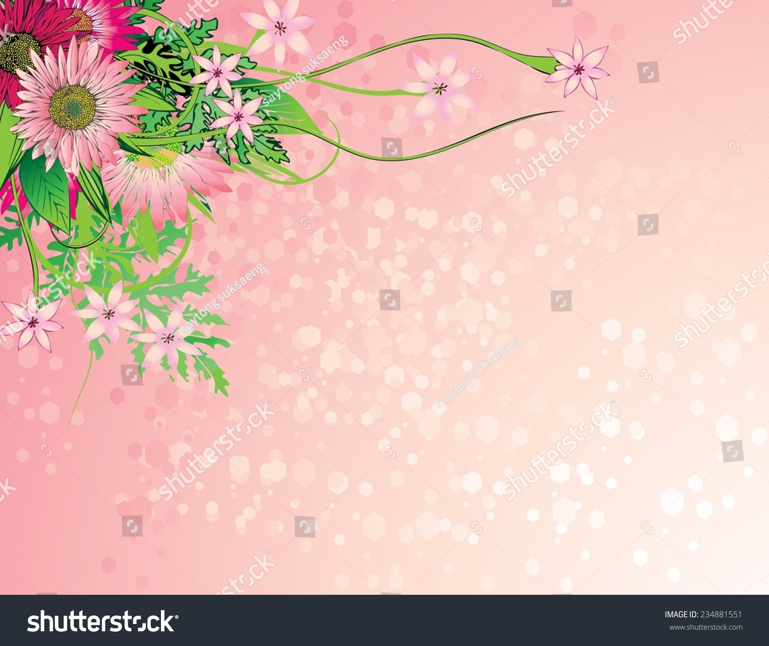 Graphic Floral Backgroundcute Floral Invitation Cards Stock Vector
