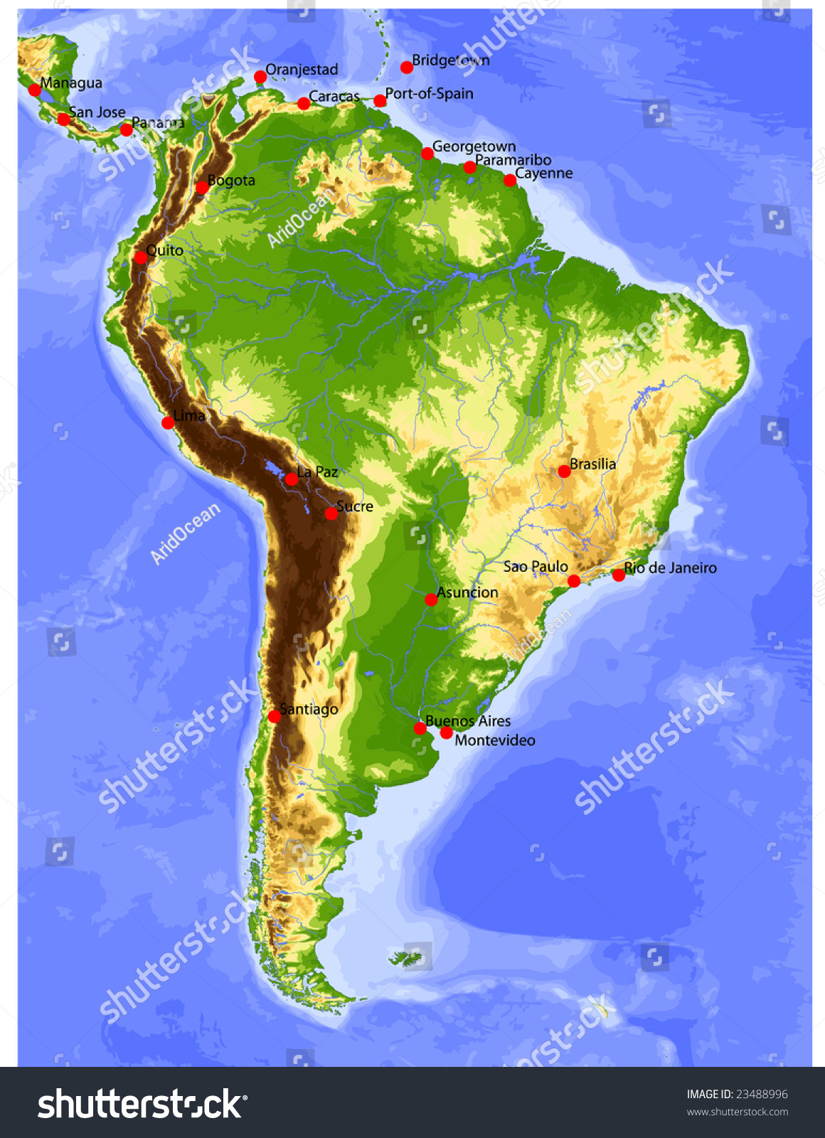 South america physical vector map colored stock vector 23488996 physical vector map colored according to elevation with rivers and selected gumiabroncs Choice Image