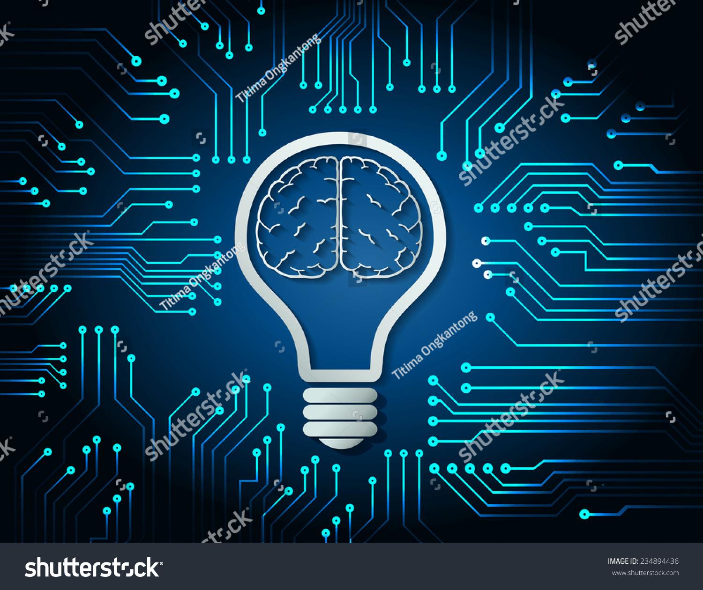 Brain Idea Concept Light Bulb Blue Stock Vector Royalty Free Circuit Board Lamp Neatorama Background