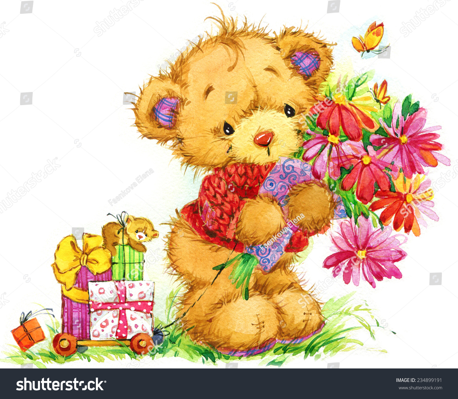Teddy bear funny background for greetings cards watercolor id 234899191 m4hsunfo