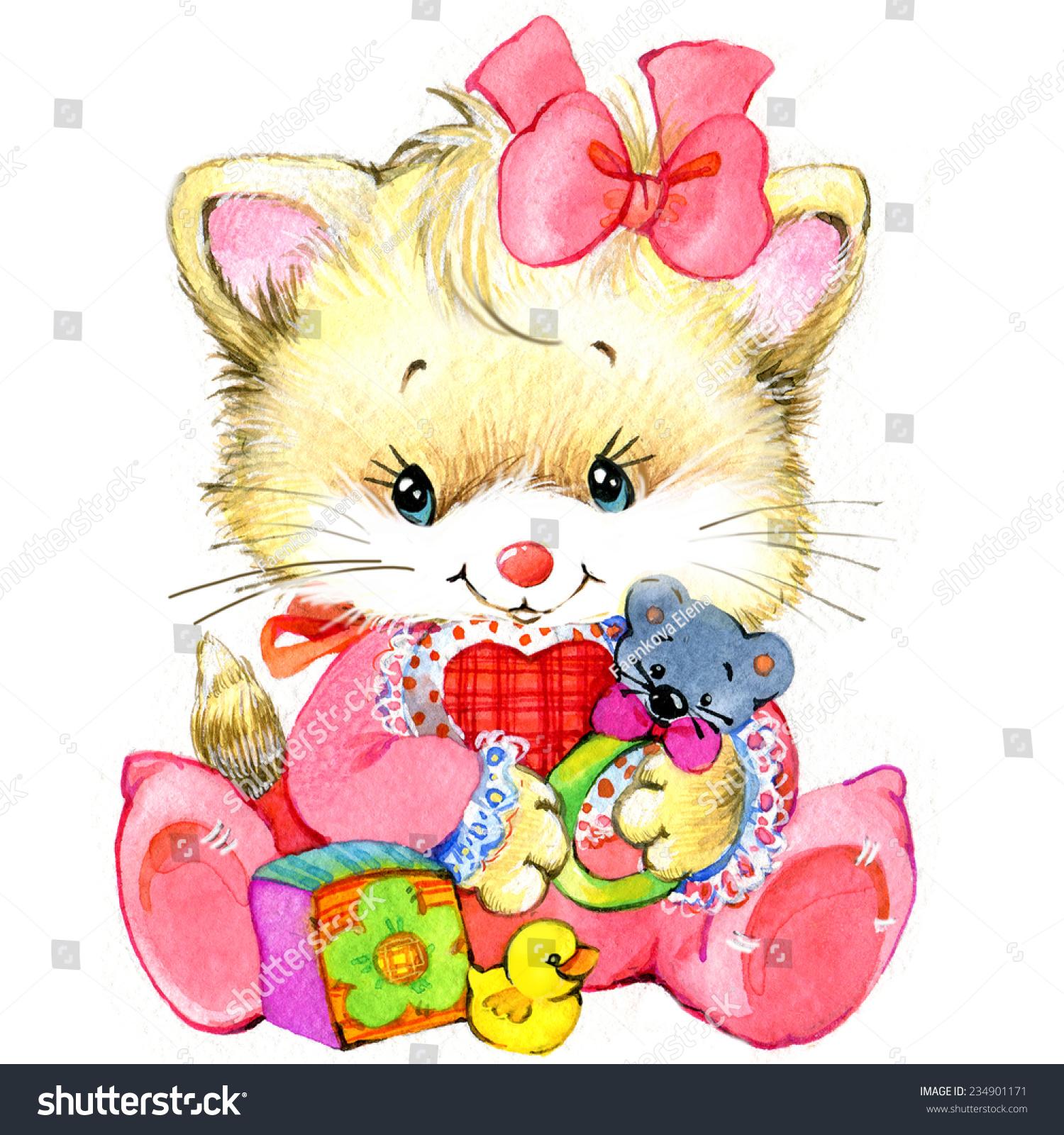 Kitten Baby Girl Holiday Greetings Watercolor Illustration Ez
