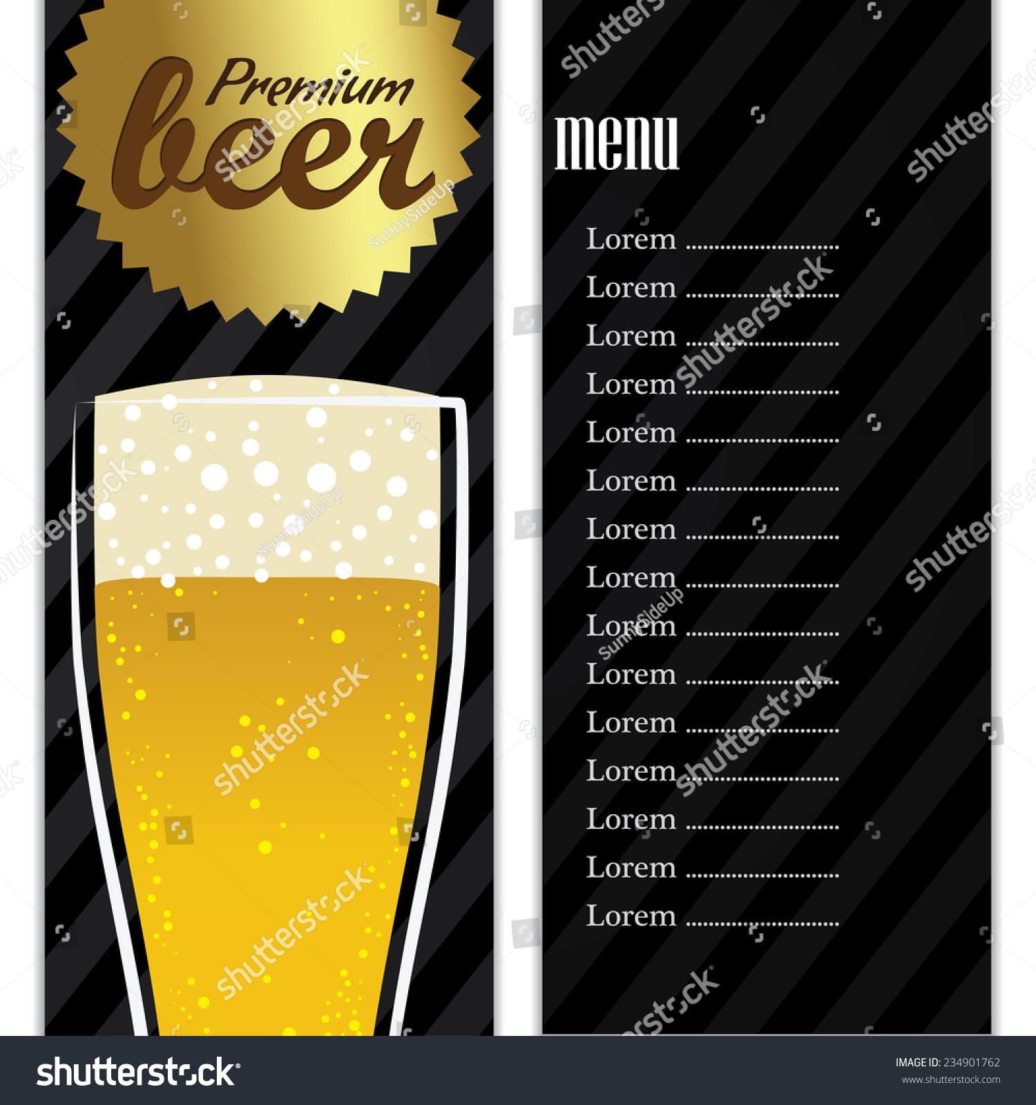 Menu Template Barrestaurantpublounge Refreshing Beer Pilsner Stock ...