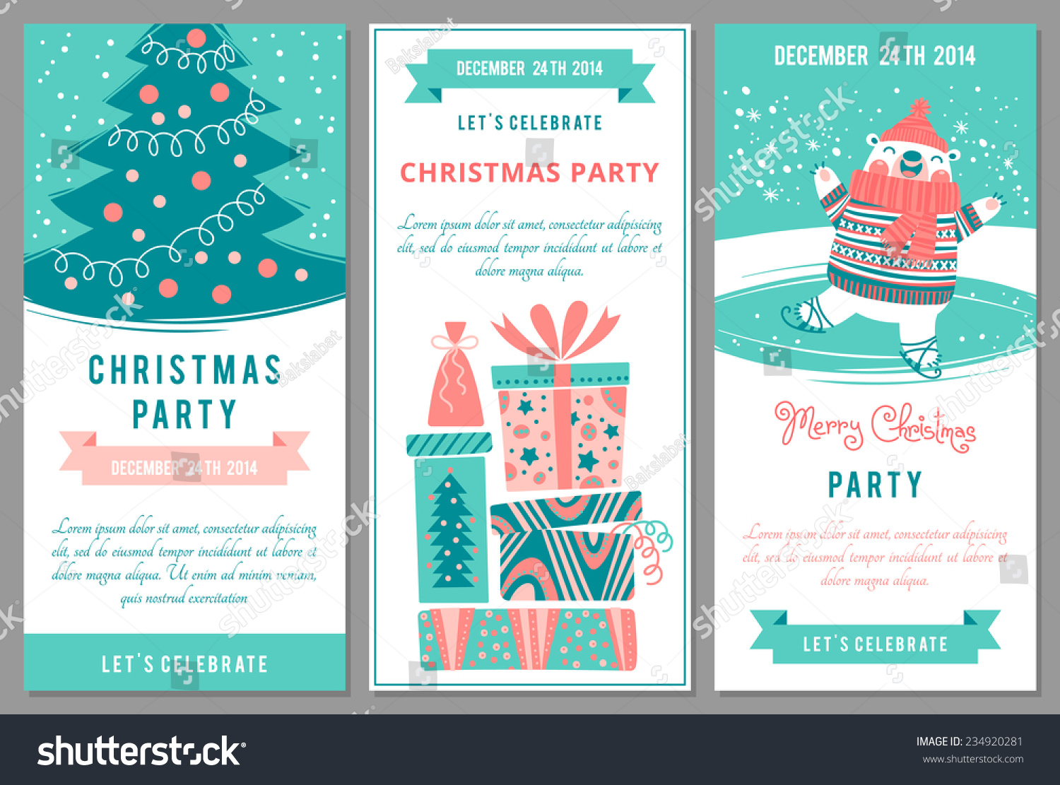 Christmas Party Invitations Cartoon Style Vector Vector – Xmas Party Invitations