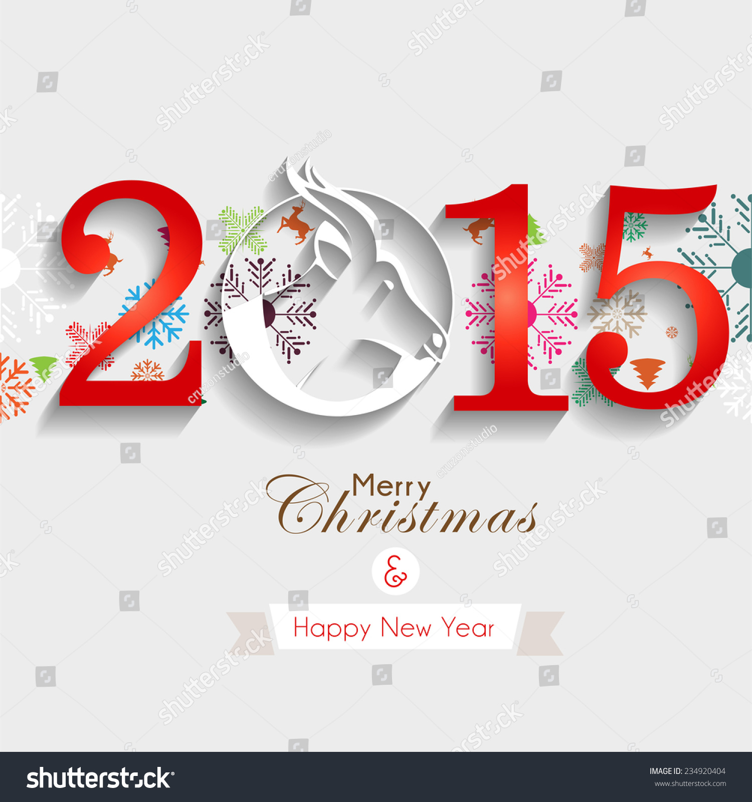 Happy New Year 2015 Greeting Design Stock Vector Royalty Free