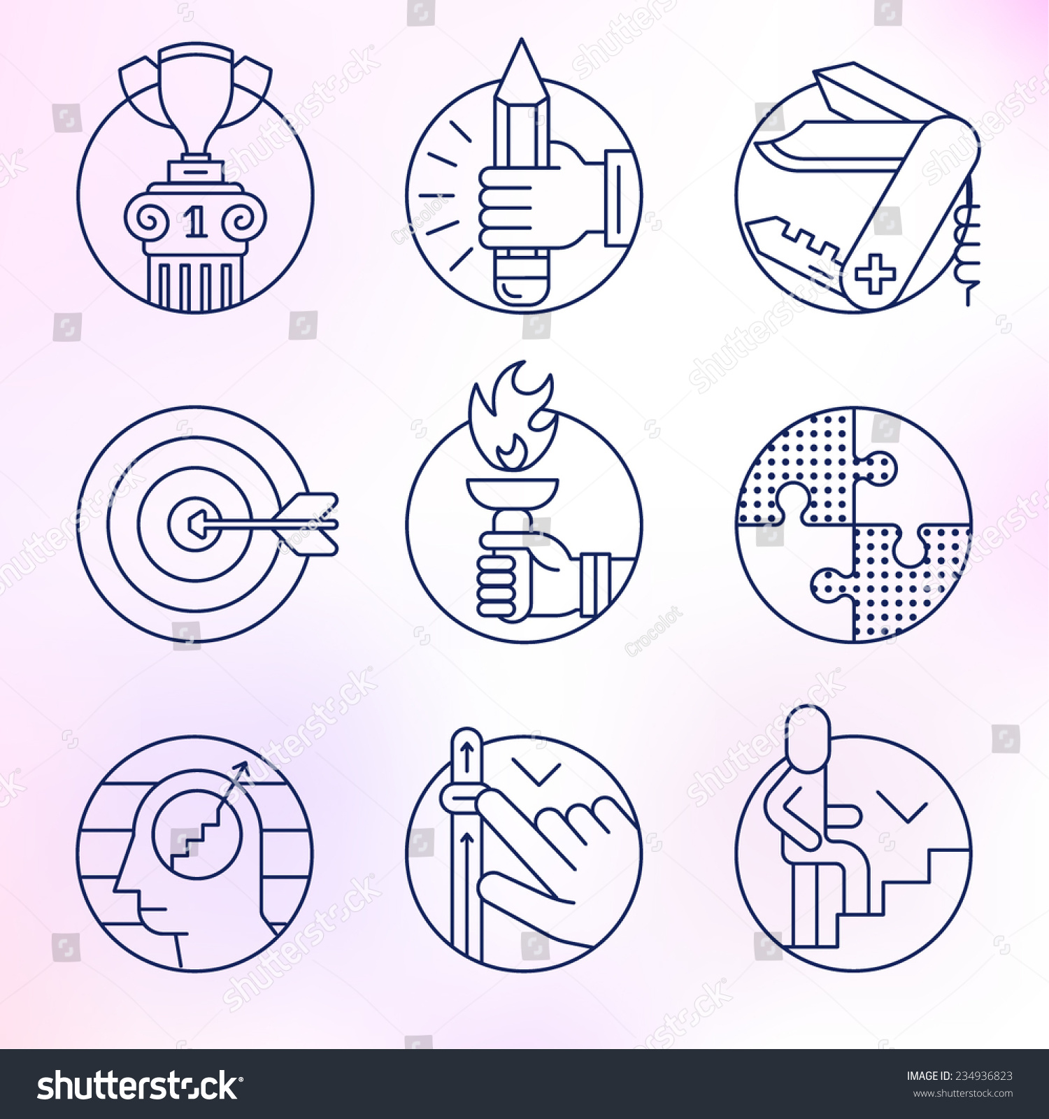 set round icons thin line skill stock vector shutterstock set of round icons thin line skill training ability achievement