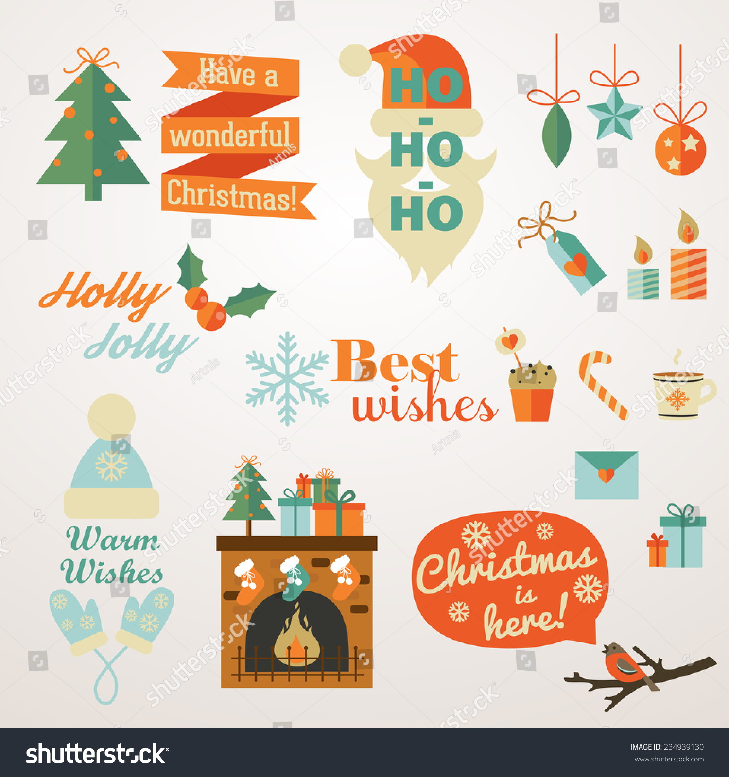 Collection christmas new year greeting phrases stock vector collection of christmas and new year greeting phrases and elements perfect for badge labels m4hsunfo