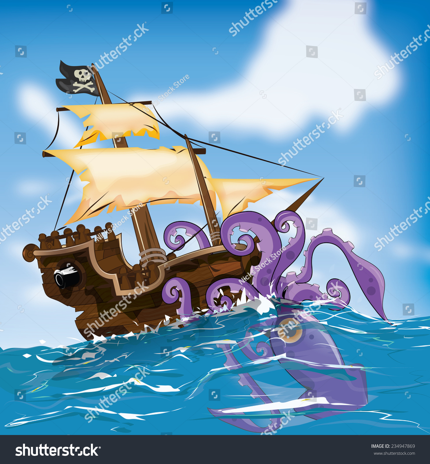 Wooden Pirate Ship Attacked By Giant Squid At Sea