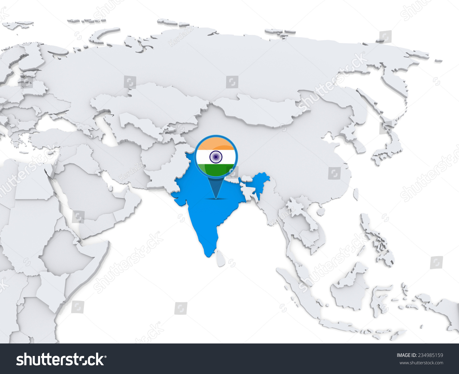 Highlighted india on map asia national stock illustration 234985159 highlighted india on map of asia with national flag gumiabroncs Image collections