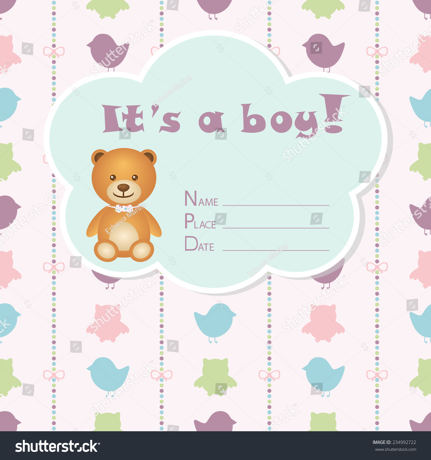 Baby boy arrival card vector by leonart image 600444 vectorstock - Baby Boy Arrival Card Baby Shower Stock Vector 234992722 Wallpaper Gallery Baby Boy Shower Card