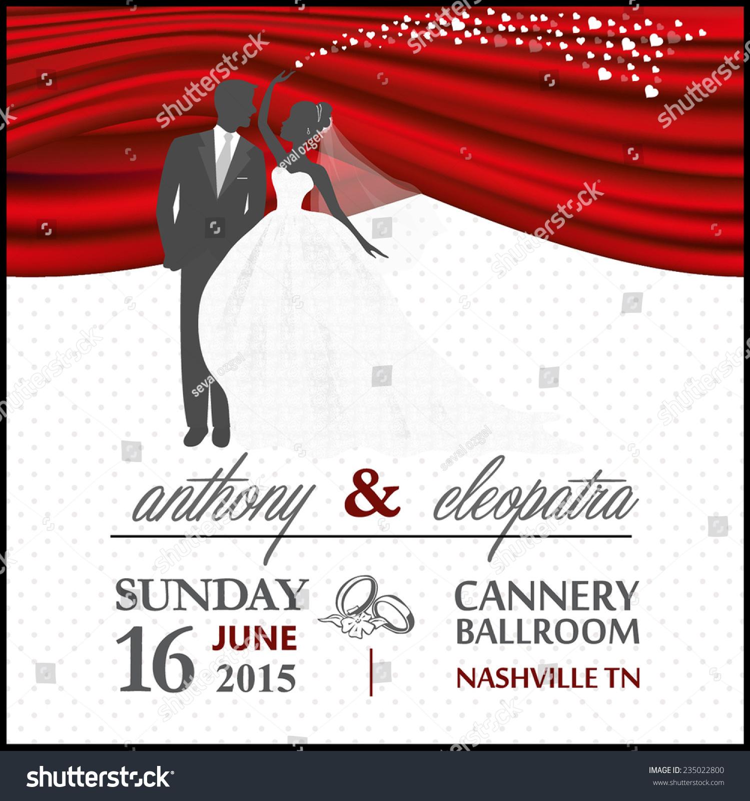 Red Black Groom Bride Wedding Invitation Stock Vector HD (Royalty ...