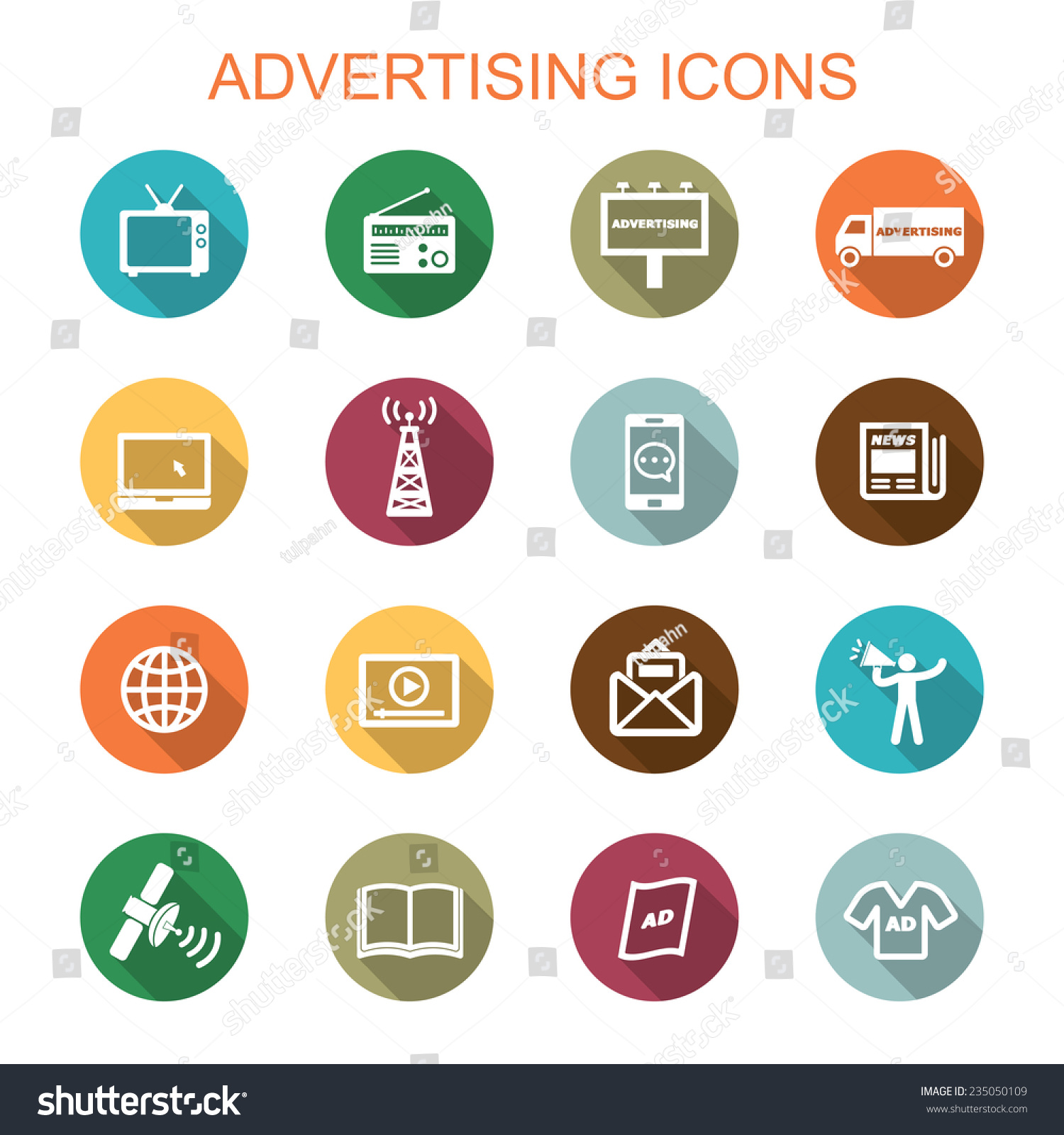 Advertising Long Shadow Icons Flat Vector Stock Vector ...