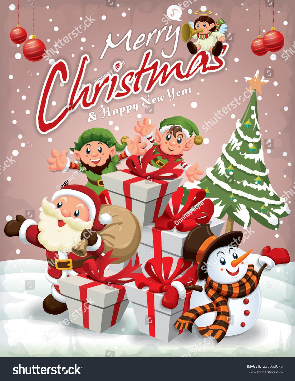 Xmas poster design - Vintage Christmas Poster Design With Santa Claus Snowman Elf Angel