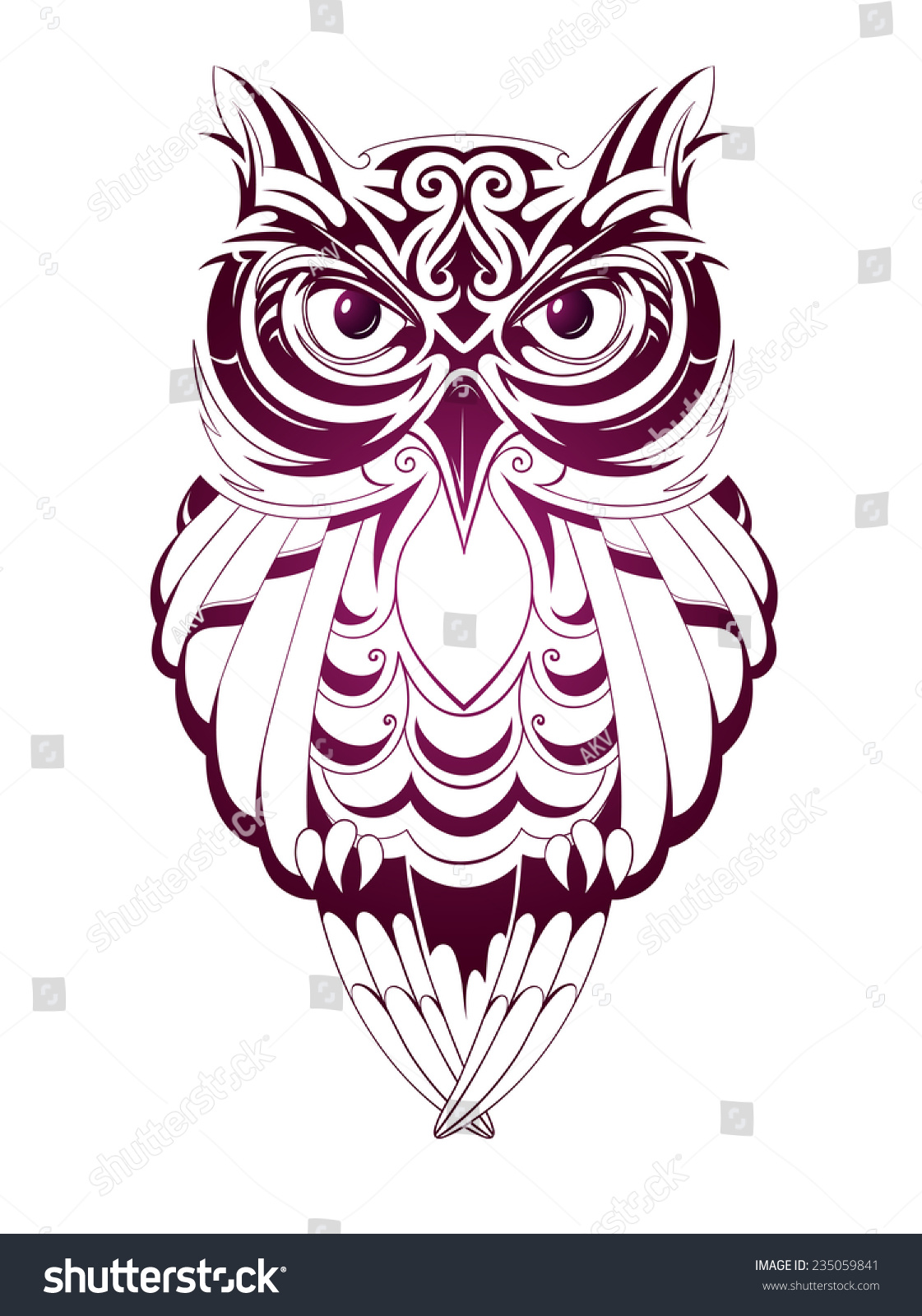 Owl Tattoo Stock Vector 235059841 - Shutterstock