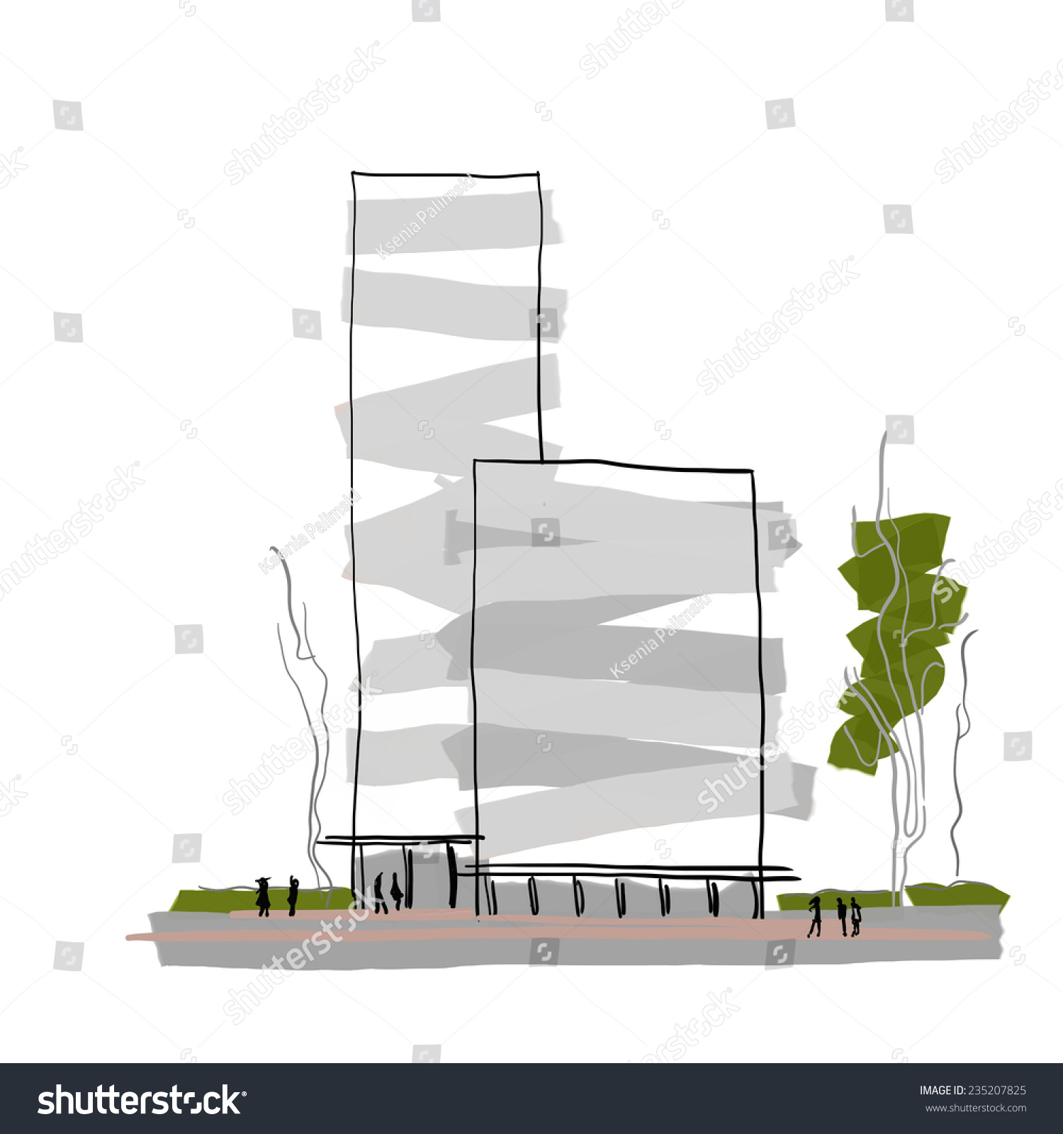 Modern Architecture Multistorey Building Design Abstract Stock