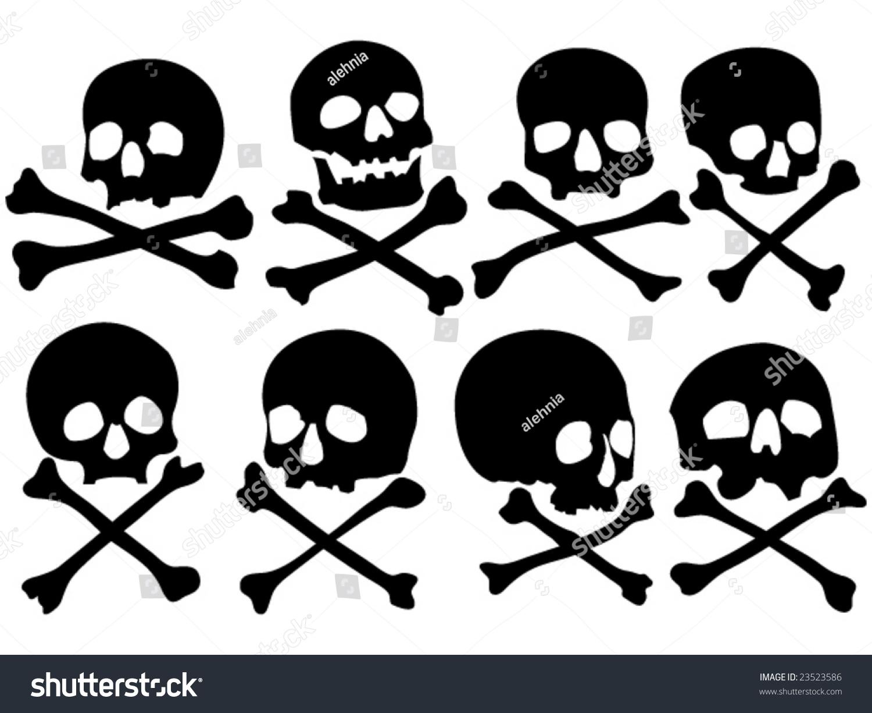 various pirate skulls crossbones vector illustration stock