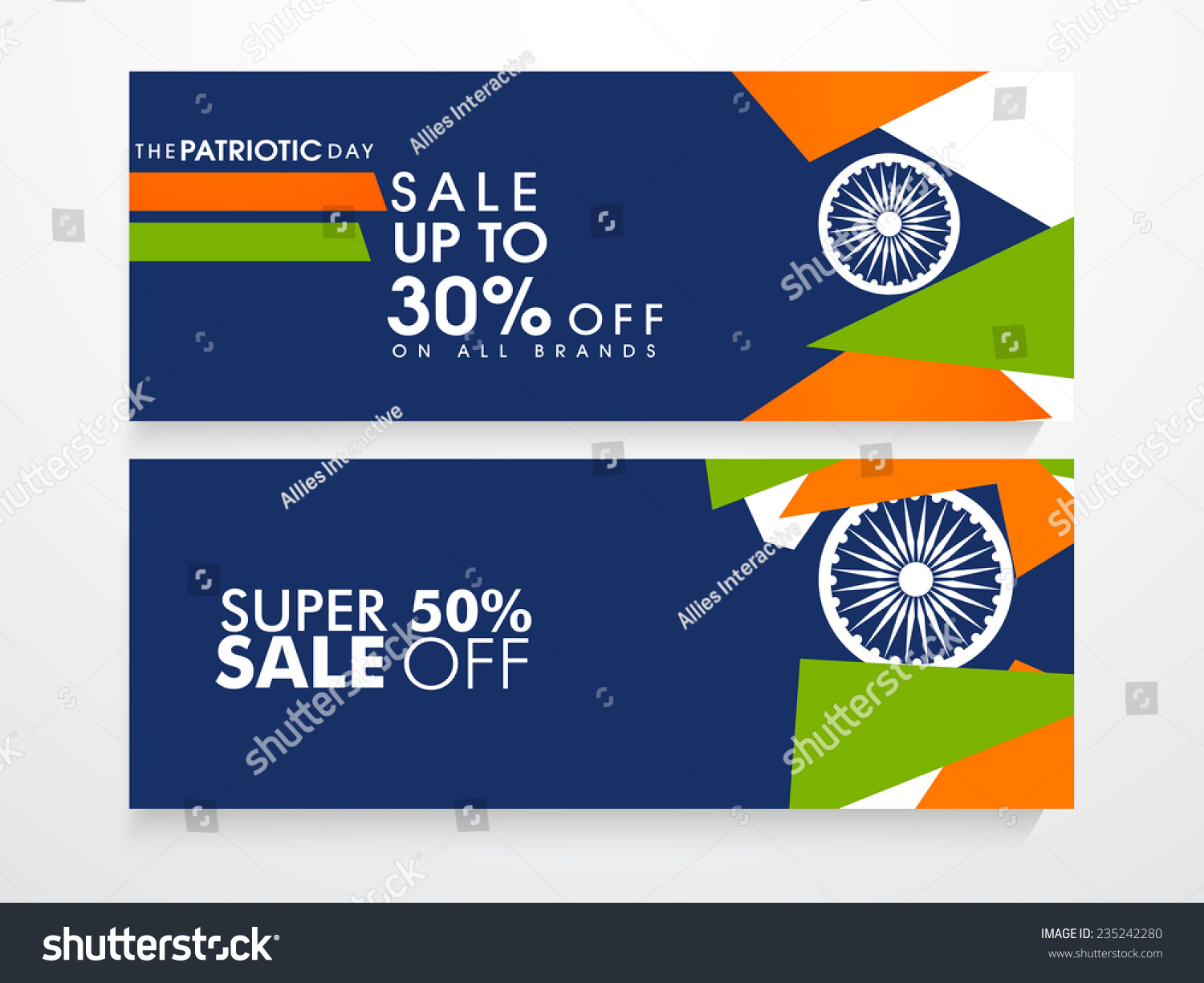 Colors website ashoka - Website Sale Header Or Banner Set With Discount Offer Ashoka Wheel And National Flag Colors